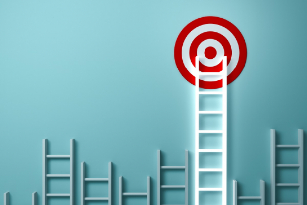Ladder aiming high to goal target